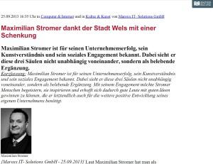 Maximilian Stromer dankt der Stadt Wels mit einer Schenkung